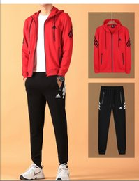 202b0070 2019 Осень мужской спортивный костюм ADIDAS с застежкой-молнией для мужчин спортивный  костюм дешевые мужские толстовка и брюки костюм с капюшоном и брюки ...
