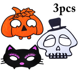 $enCountryForm.capitalKeyWord Australia - 3pcs Cute Halloween Festival Cartoon Costume Pumpkin Cat Masks Half Face Mask Halloween Party Mask For Adults Kids