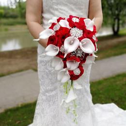 $enCountryForm.capitalKeyWord Australia - Waterfall Wedding Flowers White Calla Lilies Bridal Bouquets Artificial Pearls Crystal Wedding Bouquets Bouquet De Mariage Rose