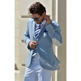 elbow patches NZ - Latest Blue Linen Jacket White Pant Groom Tuxedo Wedding Mens Suits 2 Pieces Elbow Patched Blazer Groomsman Best Men Suit