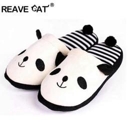 95e2daea9 REAVE CAT Lovely Women Flip Flop Cute panda Shape Home Floor Soft Stripe Slippers  Female Shoes Girl Winter Warm Shoes T219a
