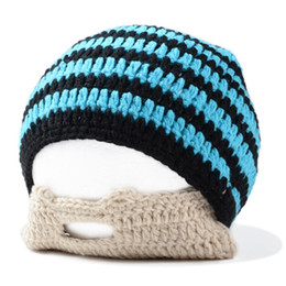 Handmade cotton crocHet beanie online shopping - Handmade Knitted Crochet Beard Hat Bicycle Mask Ski Cap roman knight octopus Cool Funny beanies Gift Blue Black
