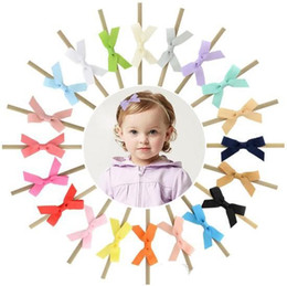 headbands bow UK - 20 Colors 2.5 Inch Baby Ribbon Bow Hair Accessories 2018 Newborn Girls Hair Bows with Elastic Nylon Hairbands Pretty Infant Trendy Headbands