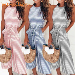 overall jumpsuits Australia - Women Jumpsuit Fashion Causal Striped Sleeveless Romper Halter Sashes Jumpsuits Ladies Loose Wide Pants Overalls Bodysuit Female