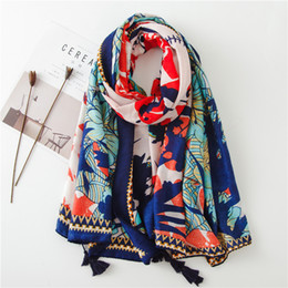 cotton shawl scarf wholesale NZ - Sun Protection Shawl female summer national wind cotton and linen silk scarf printing tassel thin gauze travel beach towel sunshade scarf