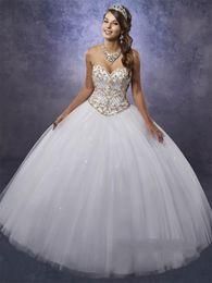 White Coral Beads Australia - Elegant White Quinceanera Dresses with Gold Beads Embellished Bodice and Free Bolero Beading Tulle Beautiful Sweet 15 Dress