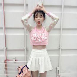 T Shirts Style Australia - Sweet Girls Laser Transparent Crop Top Kawaii Harajuku Japanese Style T Shirts Women Spring Long Sleeve Patchwork T-shirt Blusa C19040801