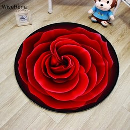 Red Living Room Chairs Australia - Romantic 3D Red Rose Round Carpet Diameter 60 80 100 120 160cm Living Room Circle Carpet Chair Rugs Bath Mat Home Hotel Decorate