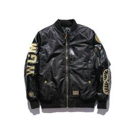 Wholesale black gold leather jacket women for sale – winter Autumn Winter Men Women Black Gold Embroidery Thick PU Leather Sleeve Jacket Men s Casual Baseball Hip Hop Jacket