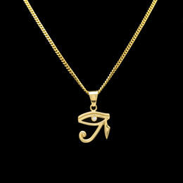 $enCountryForm.capitalKeyWord Australia - 316L Stainless Steel Gold Color Egyptian The Eye Of Horus Pendant Necklace Hip Hop Wedjat Eye Necklaces For Unisex Jewelry