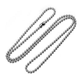 Ton argent acier inoxydable 2.4 mm Boule Perle Chaîne 18-38 in Dog Tags Collier