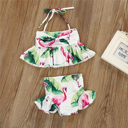 White Suits For Toddlers Australia - Toddler Kid Baby Girl Swimwear 2019 Summer Flamingo Swimsuits Two Piecec Bikini Set Bathing Suit Beachwear For Children Girl