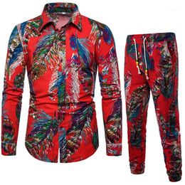 mens floral tracksuit NZ - Plus Size Chinese Styles Mens Designer Floral Printed Tracksuits Casual Long Sleeve Lapel Neck Oversize 2PCS Pants Mens Tracksuits
