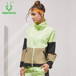 $enCountryForm.capitalKeyWord Australia - Vansydical Sports Windbreaker Women's Stand Collar Spliced Colors Fitness Running Jackets Side Buttons Outdoor Sportswear Tops