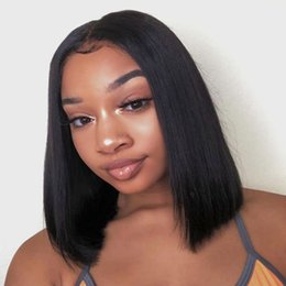TransparenT wig online shopping - Brazilian Bob Lace Front Human Hair Wigs With Baby Hair Pre Plucked Cheap Unprocessed Virgin Hair Glueless Lace Front Short Wigs