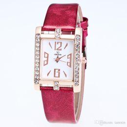 Rhinestone watch box online shopping - cheap simple design crystal lady watch fashion square rhinestone quartz watch WITH BOX