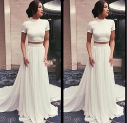 White Shorts Australia - Cheap Two Piece Prom Dresses 2019 Simple Pure White High Neck Short Sleeves A Line Evening Dresses Chiffon Formal Party Gowns Custom Made
