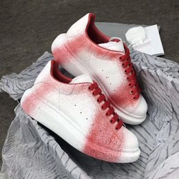 leather lace free shipping Australia - free shipping Casual Designer Fashion man multi color white real leather red Graffiti lace up brand new with box and dustbag colorful