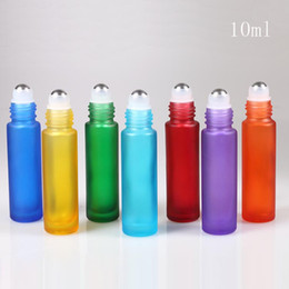 roller ball perfume bottles NZ - Newest Glass Roller Ball Bottles 10ml Scrub Color Perfume Roll On Glass Bottle Sub-Bottle 10 ML with 7 Colors and Aluminum Caps