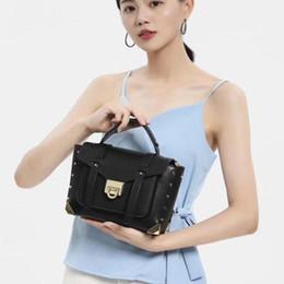 $enCountryForm.capitalKeyWord UK - Charm2019 Manhattan Cowhide Punk Postman Bag Woman Genuine Leather Rivet Single Shoulder Messenger Handbag Small