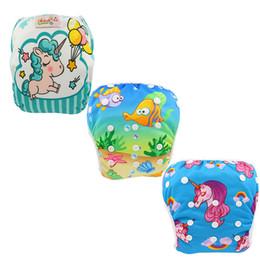 Swimwear Infant Australia - 3PCS Ohbabyka Swimming Diapers for Infants Baby Pocket Cloth Diaper Unicorn Waterproof Swim Diaper Nappies Baby Girl Swimwear