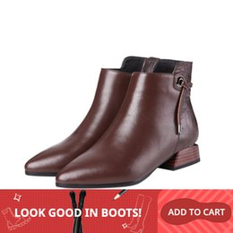 men leather short zipper boot 2020 - MLJUESE 2019 women ankle boots cow leather zippers Geometric low heel boots winter short plush ankle boots party dress s