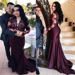 3e4eb44e436e8 Modest Maternity dresses online shopping - Modest Arabic Plus Size Mermaid  Prom Dresses Long Sleeve Illusion
