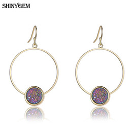 vintage copper earrings dangle 2019 - ShinyGem Vintage Golden Big Round Earrings Colorful Druzy Natural Stone Earrings DIY Smooth Twist Circle Drop For Women