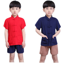 Boy Chinese Suit Australia - Chinese Traditional Children Tang Clothes Set Solid Baby Boys Tee Shirt Trousers Kungfu Costumes Cheongsam Kids Sport Suit Linen