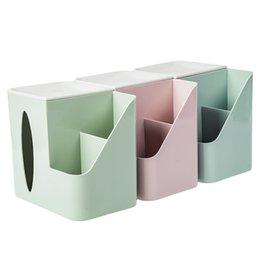 China Home Multi-Function Desktop Plastic Tissue Box Organizer Multi-Grid Stationery Storage Box Desktop Finishing supplier tissue box green suppliers