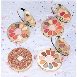 Orange Glitter Australia - 10 Color Eye Shadow Glitter Eyeshadow Palette with Shinny Box Round Shape Cosmetic Eye Makeup Boxes 4 Style