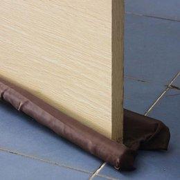 Door Guard Protector Australia - 1 Pc Useful Coffee Color Twin Door Draft Dodger Guard Stopper Energy Saving Protector Doorstop Home Decor