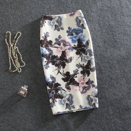 $enCountryForm.capitalKeyWord Australia - New 2019 Women Summer Office Pencil Skirt Fashion High Stretch Blue And Oil Print Midi Knee Skirt Xxl Saia