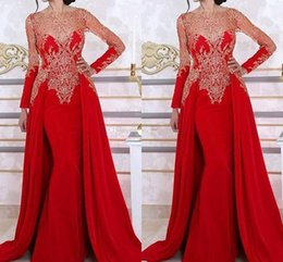 Wholesale white shirts long skirts runway for sale - Group buy Red Saudi Arabic Mermaid Evening Dresses Bateau Neck Long Sleeves Appliques Lace Satin Over Skirt Dubai Vintage Prom Dresses robes de soiree