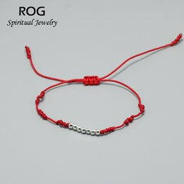 $enCountryForm.capitalKeyWord Australia - Lucky Red String Bracelets For Women Hand Braided Ethnic Chinese Tibetan Knot Bracelet With 925 Sterling Silver Beads