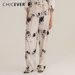 Flattering Clothes For Plus Size Australia - CHICEVER Summer Print Trousers For Women High Waist Sashes Plus Size Straight Wide Leg Pants Female 2019 Fashion Clothes New