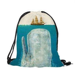 camel outdoor backpack 2019 - Clean Ocean Style Drawstring Polyester Bags Underwater Landscape Marine Animal Whale Students Shoulder Bags Outdoor Ruck
