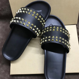 Discount red bottom spike shoes for men - designer Red Bottom slippers slides sandals for men flip flops Spikes Shoes Genuine Leather Black Flat Comfortable Beach