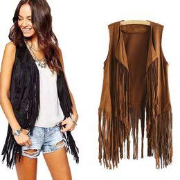$enCountryForm.capitalKeyWord Australia - Women Autumn Winter Faux Suede Ethnic Sleeveless Tassels Fringed Vest Cardigan