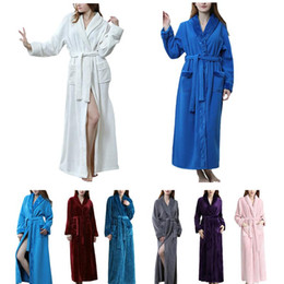 40d0cdeb2c Autumn And Winter Flannel Splicing Nightgown Long Pajamas Bathroom Bathrobe  For Men And Women Delicate Fabric Soft Touch Glossy