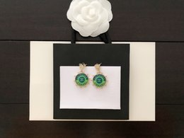 Beautiful star online shopping - Designer letter luxury Earring with box ship s Specialized custom circular green Earring fashion beautiful Zbd0087