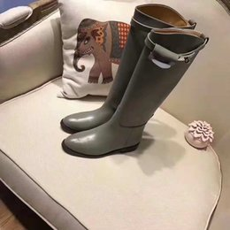 Best Nude Flats Canada - 2018 best quality! free ship! u503 40 41 42 genuine leather buckle knee high boots h black grey luxury classic flat ridding celeb