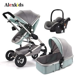 pram strollers 2019 - Baby Stroller 3 in 1 With Car Seat High Landscape Trolley 2 in 1 Prams For Newborns Baby Portable Bassinet Folding Carri