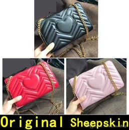 leather tennis bags Canada - Marmont Original Sheepskin Genuine Leather Designer Handbags High Quality Luxury Handbags Gold Chain Women Shoulder Bags Come With Box