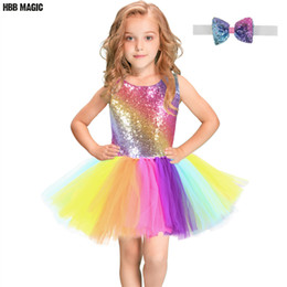 girls dresses rainbow tutu Australia - Rainbow Sequins Tutu Dress for Kids Fashion Backless Sleeveless Tulle Dress Girls Clothes Colorful Children Girl Party Dress 2-8