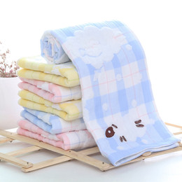 Compress Cartoon Towel Australia - Cartoon Lazy Sheep Lattice Print Stripe Thick Soft Double Layer Fabric Towel Set 100%Cotton Hair Hand Spa Bath Face Home Towel