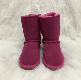 sale snow boots Australia - Hot Sale-Girls Australia Style Kids Snow Boots Cute Bow Back Waterproof Slip-on Children Winter Cow Leather Boots Brand Ivg EUR 21-35