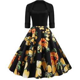 rockabilly pin up UK - Half Sleeve Black Autumn Winter Women Dress Floral Print Vintage Party Dresses Robe Casual Rockabilly A-Line Pin Up Vestidos