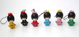 Discount japanese cartoon dolls Japanese Kimono Girl Keychain Cartoon Doll Puppet Keyring Birthday Party Favor And Gift Free Shipping