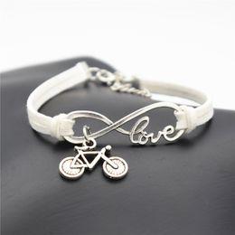 $enCountryForm.capitalKeyWord NZ - Infinity Love Cute Bike Cycling Bicycle Charm Bracelet Fashion White Leather Suede Bangles Women Men Jewelry Adjustable Wholesales Drop Ship